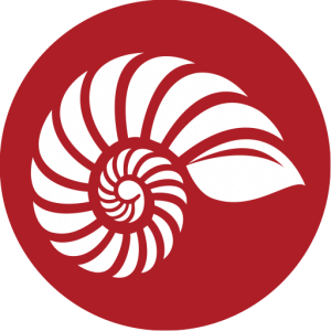 A red circle with a white fossil shell within it