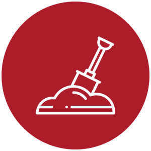 A digital illustration of a white shovel digging into a white pile of dirt inside of a large red circle with a white outline