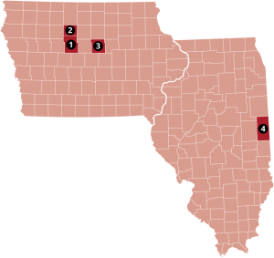 A map of Iowa and Illinois in red with their borders and counties outlined in white. Three counties labeled 1, 2, and 3 are colored in dark red in Iowa and one county labeled 4 is colored in dark red in Illinois.
