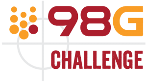 The letters 98G are in red and orange above the word Challenge in maroon. To the left is a shape with eight orange circles and one maroon circle.