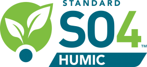 The words Standard and Humic in dark teal and white above and below the characters SO4 in teal and green. Positioned to the left is a green circle with white leaves on top of a smaller teal circle.