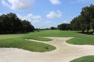 View of sand traps, green turf grass, trees, and a blue sky at a golf course