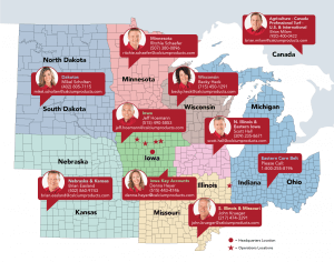 A map of North Dakota, South Dakota, Nebraska, Kansas, Minnesota, Iowa, Missouri, Wisconsin, Illinois, Michigan, Indiana, Ohio, and Canada with red bubbles for each state/country that display a headshot, name, phone number, and email of who to get in contact with