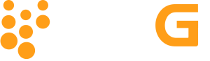 The characters 98G in white and orange above the words pelletized limestone in white. To the left is eight orange circles near one larger white circle that form a shape.