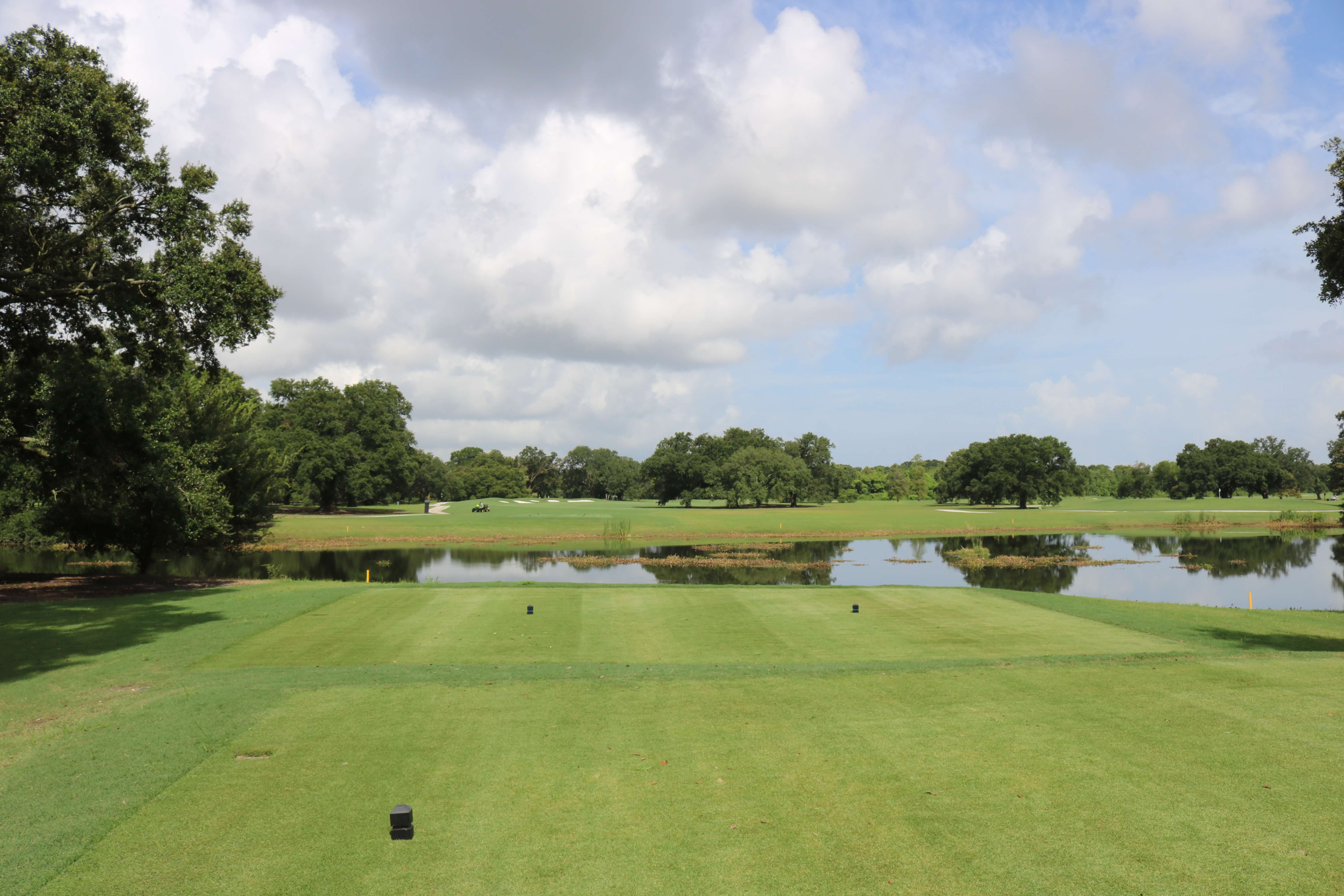 A view of green turf grass and trees that lead to a large pond in the middle of a golf course