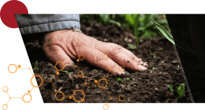 An image of a man's hand touch soil with a molecule pattern overlaid and a red circle in the top left of the image